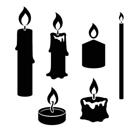 Set of black and white silhouette burning candles   depicting  aromatherapy  spirituality  religion  commemorative and party