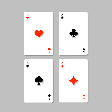 Four aces playing cards in flat modern style photo