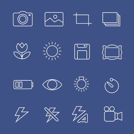 Photography white  icons camera buttons  vector set