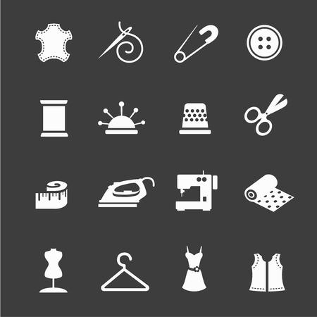needle cushion: sewing equipment and needlework icon set