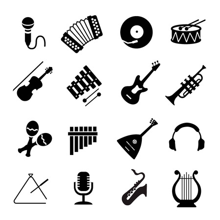 recital: Assorted black musical instruments icons set on white Illustration