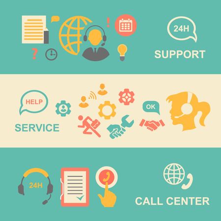 social network service: Call center  banners set with support and service    isolated vector illustration Illustration