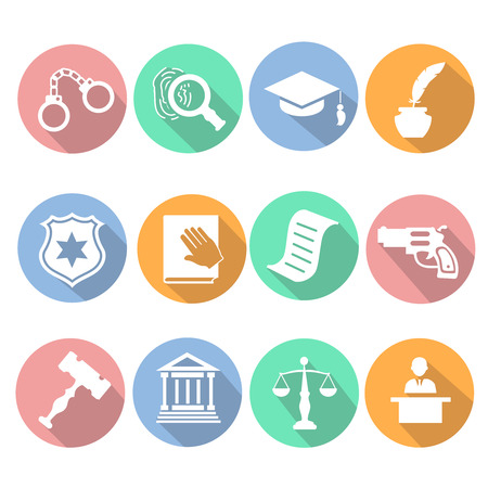 criminal justice: Law and judgment legal justice icon flat set  vector illustration