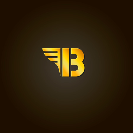 letters gold: Letter B. Vector gold font. Template for company logo. Design element or icon.