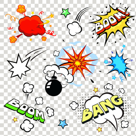 Comic speech bubbles in pop art style with bomb cartoon explosion bang boom text set vector illustration Illustration