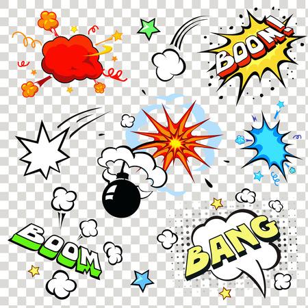 Comic tekstballonnen in pop art stijl met cartoon bomexplosie bang boom tekst set vector illustratie Vector Illustratie