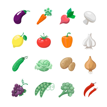 celery: Vegetables icons flat set with potatoes broccoli celery cabbage cucumber isolated vector illustration