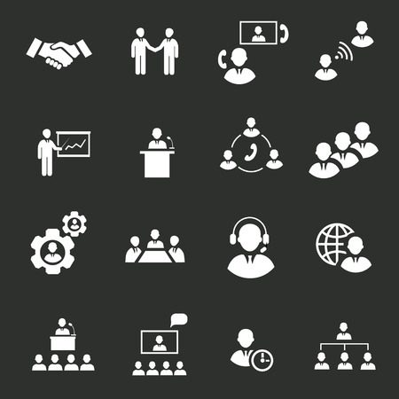 Business people online meeting strategic pictograms set of presentation online conference and teamwork isolated vector illustration Çizim