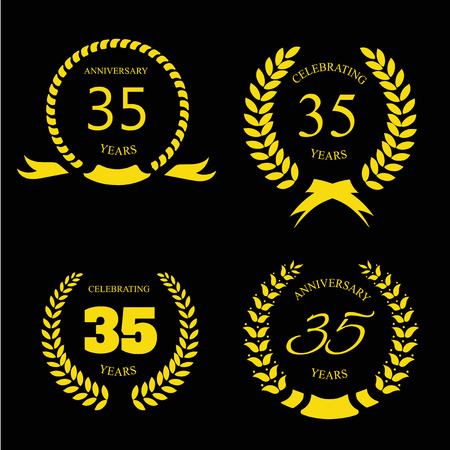 thirty five: Thirty five years anniversary laurel gold wreath set