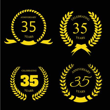 thirty five: Trentacinque anni di anniversario di alloro set oro corona Vettoriali