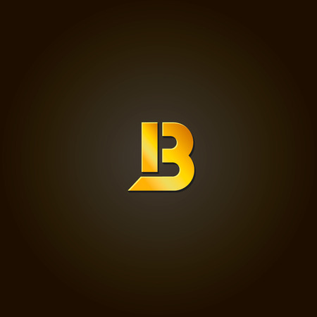 b: Letter B. Vector gold font. Template for company logo. Design element