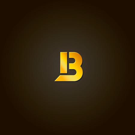 Letter B. Vector gold font. Template for company logo. Design element