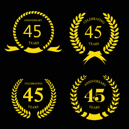 45th: forty five years anniversary laurel fifty years anniversary laurel gold wreath set