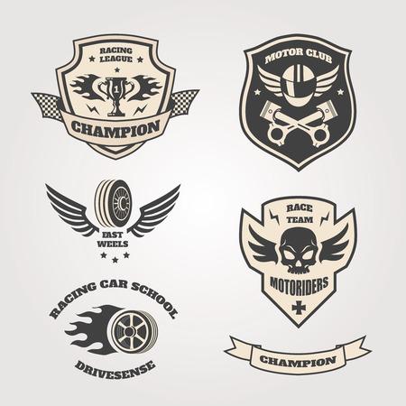 engine pistons: Grand prix racing  motorclub  emblems set isolated vector illustration