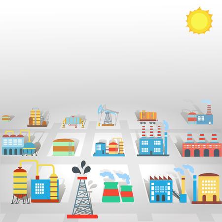 industry background: Fondo de la industria plana F�brica con edificios de producci�n y la tecnolog�a de manufactura ilustraci�n vectorial