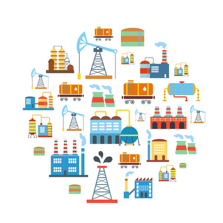 manufactory: Factory flat industry background with manufactory production technology buildings vector