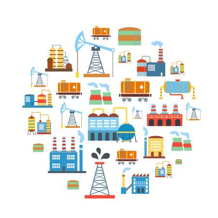 industry background: Fondo de la industria plana de f�brica con los edificios de la tecnolog�a de producci�n de manufactura vectorial