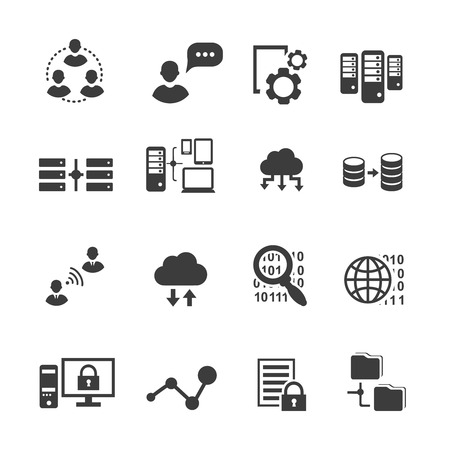 Big data icon set, data analytics, cloud computing. digital  processing vector Çizim