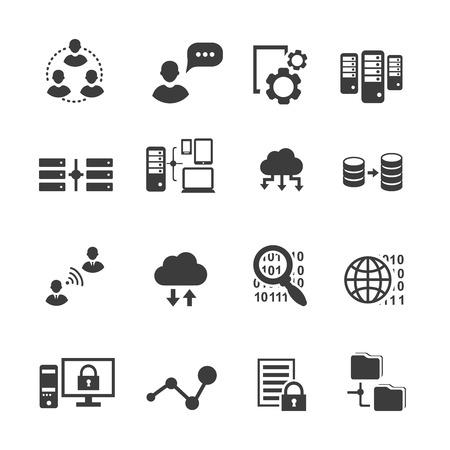 Big data icon set, data analytics, cloud computing. digital  processing vector Vectores