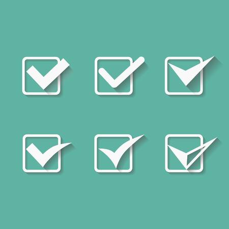 confirmacion: Conjunto de seis diferentes marcas de verificación vector o garrapatas en cajas conceptuales del acuerdo de votación aprobado aceptación confirmación positiva verdaderos o de finalización de tareas en una lista Vectores