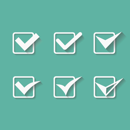 confirmation: Set of six different white vector check marks or ticks in boxes conceptual of confirmation  acceptance  positive  passed  voting  agreement  true or completion of tasks on a list
