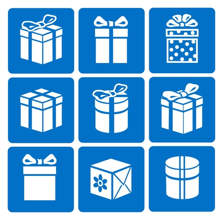 present box: Gift box icons set on blue background