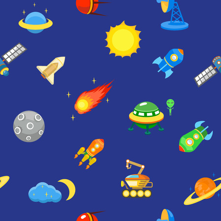 stars cartoon: Seamless space pattern.  Planets, rockets and stars. Cartoon spaceship icons. Childish background.