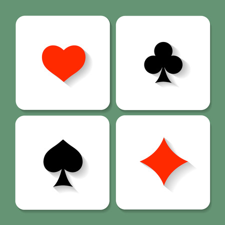 card suits: Set of  playing card symbols with shadows