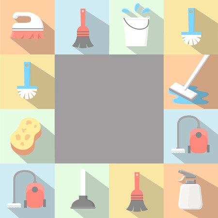 window sign: application Cleaning Icons set in flat style with long shadows.