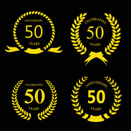 fifty: fifty  years anniversary signs  laurel gold wreath set