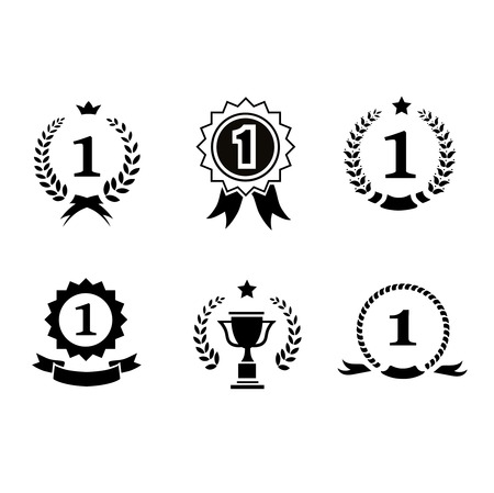 enclosing: Set of black and white circular  winner emblems with leader icons laurel wreaths, ribbon rosettes enclosing the number 1  an award trophy  crown