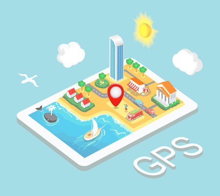route map: Flat map mobile GPS navigation, Infographic 3d isometric concept. GPS route map. Vector illustration Illustration