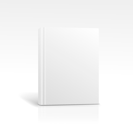 foreshortening: Blank vertical book cover template standing on white surface