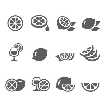 lemon lime: Limone icone calce insieme vettoriale