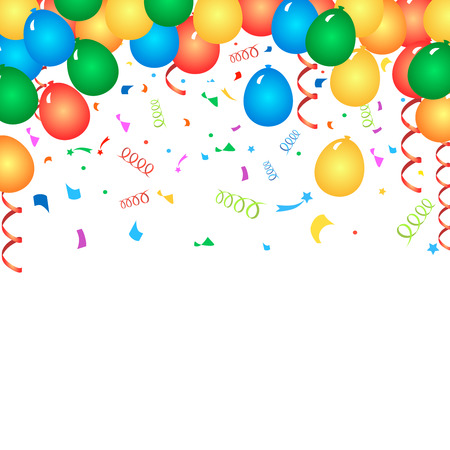 balloons celebration: Colorful birthday balloons and confetti -  background Stock Photo