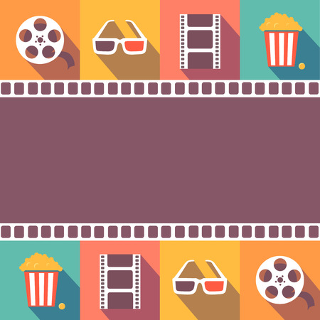 cinema screen: Cinema icons set. Flat style signs   illustration