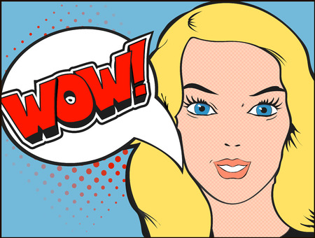 wow: Smiling woman face with open mouth. WOW bubble and expression. Vector illustration