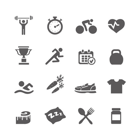 water shoes: Health and Fitness icons vector set icons with a stopwatch bodybuilder weights dumbbells heart  pulse trainer shoes bottled water