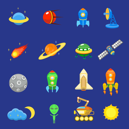 moon rover: Space icons set of rocket  galaxy  planet ufo sun