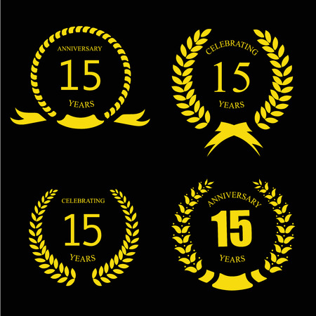 15: Celebrating 15 Years Anniversary - Golden Laurel Wreath Stock Photo
