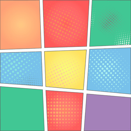 colorful template of comic book page with rays, stars, dots, halftone background Stock Photo