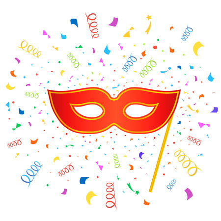 carnival masks: Bright carnival masks with confetti on white background,  party poster template
