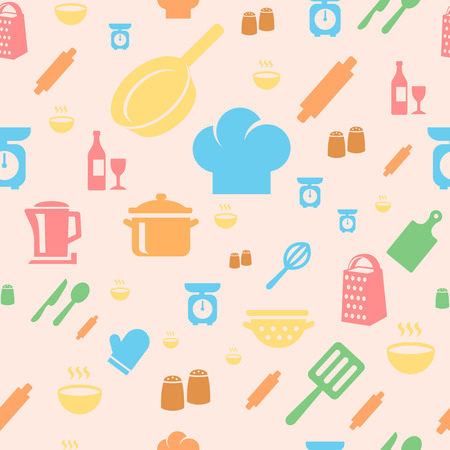 Seamless repetitive pattern with kitchen items in retro style. photo