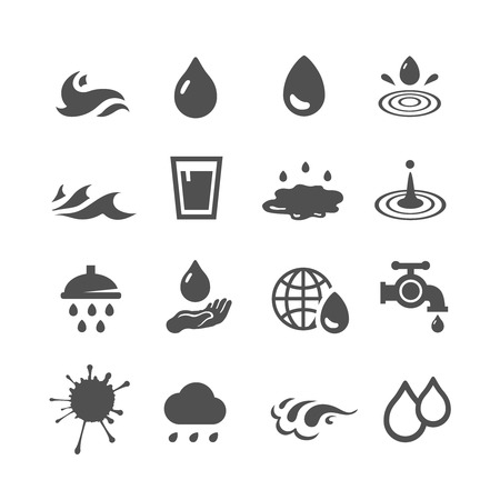 Vector black water icons set
