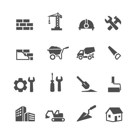 cemento: Iconos conjunto de la construcción en el fondo blanco. Ilustración vectorial