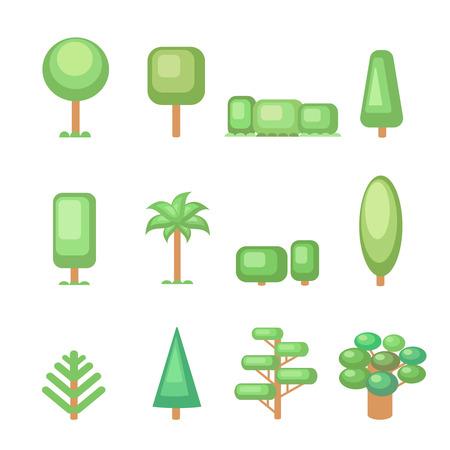 coniferous forest: Icono de árbol conjunto - Varios árboles y plantas Nature recolección. Conjunto de elementos para la construcción de paisajes urbanos y rurales. Vector ilustración plana