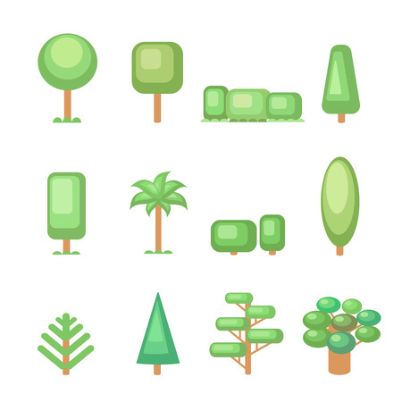 deciduous: Tree icon set - Various  trees  and plants  Nature collection. Set of elements for construction urban and village landscapes. Vector flat illustration