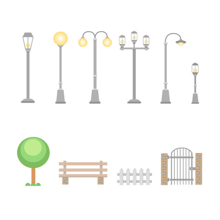 garden bench: Street lights and lamps set . Outdoor elements bench, wicket, fence. Set of elements for construction of urban and village landscapes. Vector Illustration