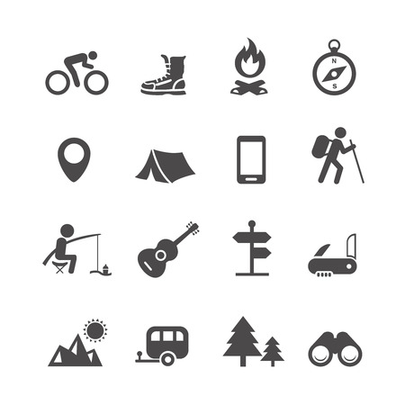 Vector icons forest camping set with compass guitar tent fisherman bonfire knife trailer Vectores