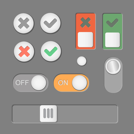 toggle: Vector Toggle switch icons on dark background. On and Off, Check Mark. skrollbar